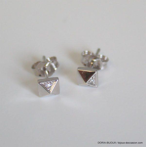 Boucles D' Oreilles Clous Diamants 0.06ct - Or 9k-