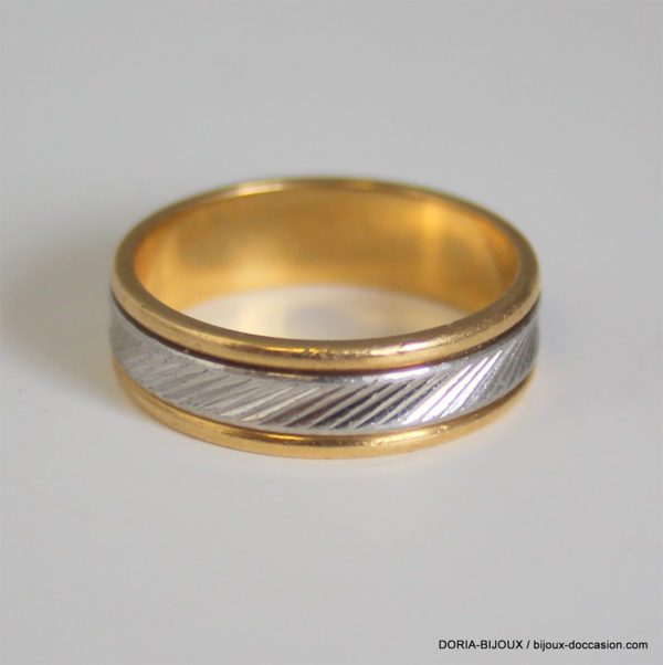 Bague Alliance Or Bicolore 18k, 750 - 6.1grs- 56