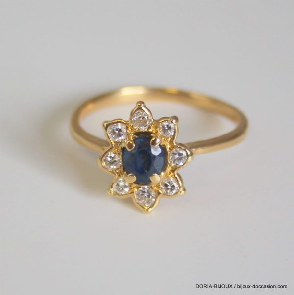 Bague Or 18k 750 Saphir Diamants 3grs -57