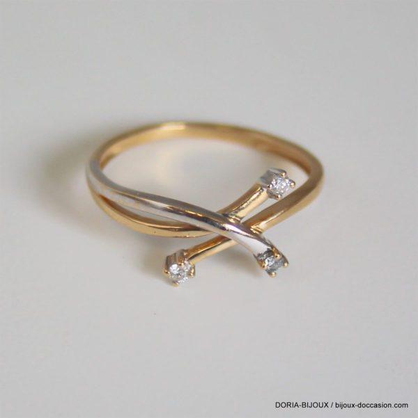 Bague Vintage Or 18k 750 Diamants- 1.7grs- 55