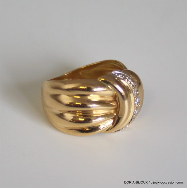 Bague Or 18k 750 Diamants- 7.55grs- 51