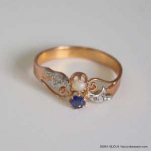 Bague Vintage Or Rose 18k Saphir Diamants 2.7grs -57
