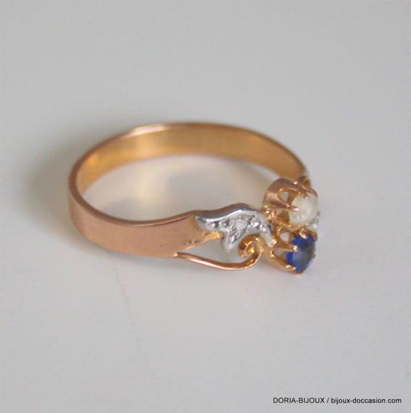 Bague Vintage Or Rose 18k Saphir Diamants 2.7grs -57