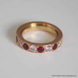 Bague Or 18k Rubis Et Diamants 8.3grs -52