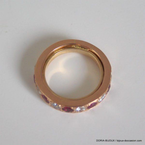 Bague Or 18k Rubis Et Diamants 8.3grs -52