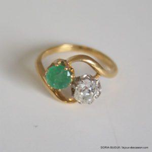 Bague Vintage Or 18k Emeraude & Diamant 3.1grs- 50