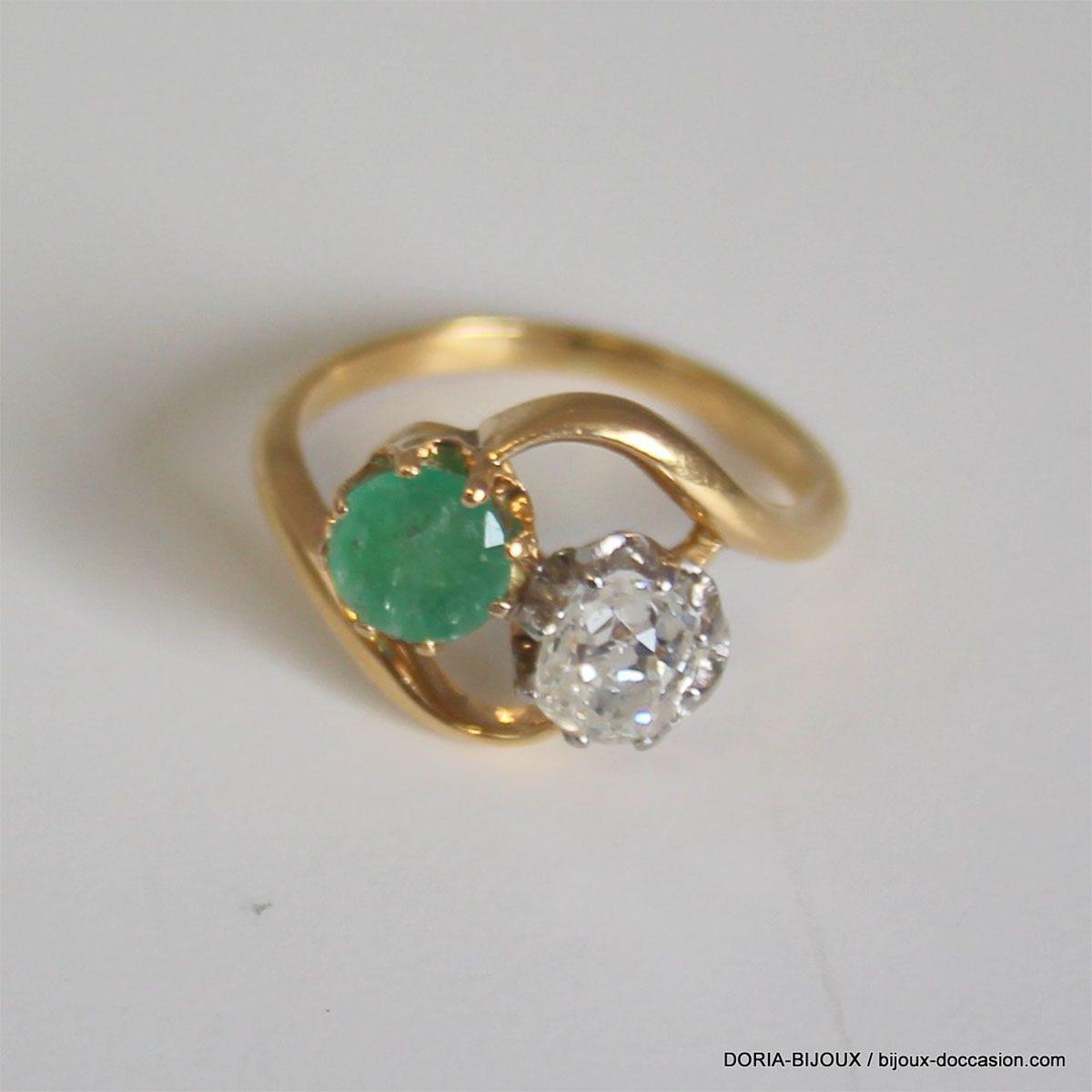 vente chaude en ligne 79805 87958 Détails sur Bague Vintage Or 18k Emeraude & Diamant 3.1grs- 50 - Bijoux  occasion