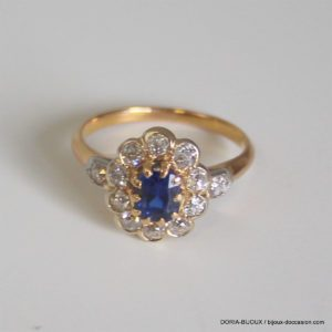 Bague Or 18k Saphir Diamants 3.7grs -53