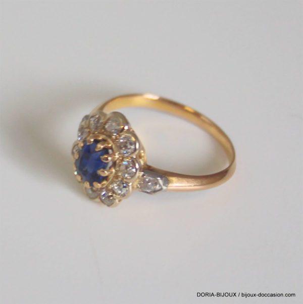 Bague Or 18k Saphir Diamants 3.7grs -53