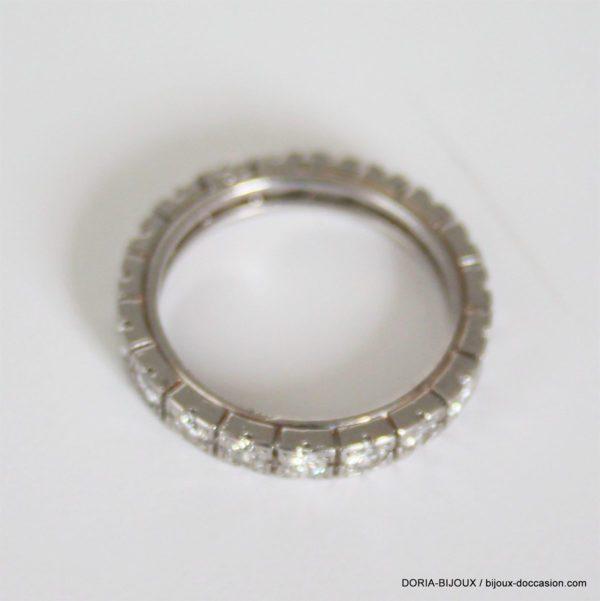 Bague Tour Complet Or Gris 18k 750 19 Diamants - 54-