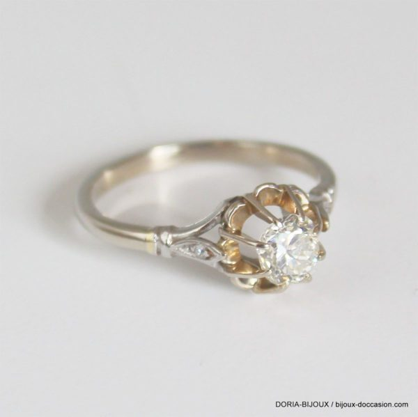 Bague Vintage Or 18k 750 Diamant 0.50ct 3.1grs -56-