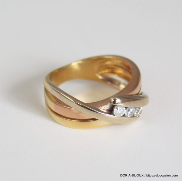 Bague Or 18k 750/000 Trilogie Diamant-5.2grs -51