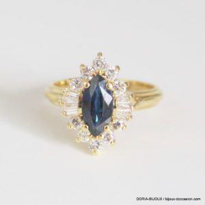 Bague Or 18k 750 Saphir Diamants 5.7grs -53