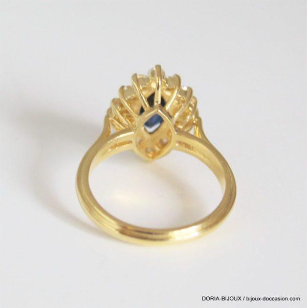 Bague Or 18k 750 Saphir Diamants 5.7grs -53