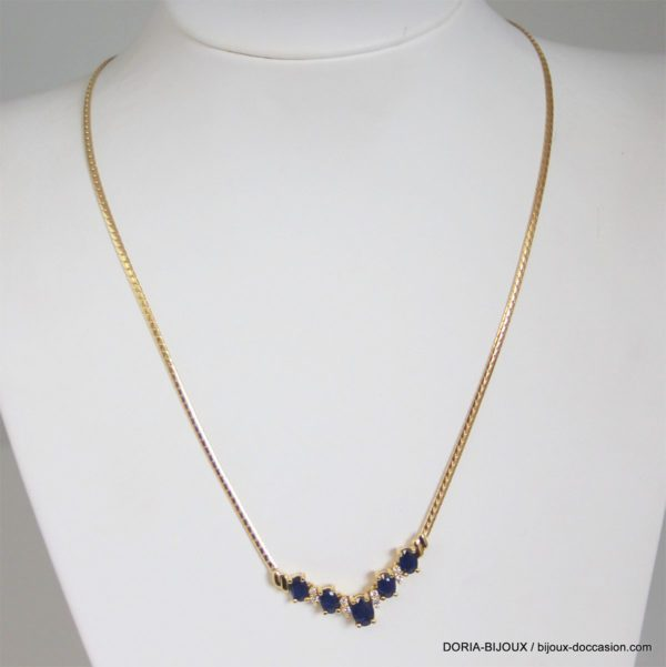 Collier Or 18k 750/000 Saphirs Diamants- 10.2grs