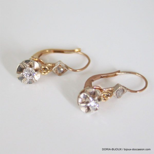 Boucles D'oreilles Vintage Or 18k Brisures Diamants