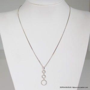 Collier Or Gris 18k 750 Pendentif Diamants - 4.2grs