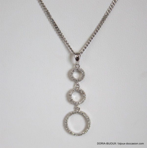 Collier Or Gris 18k 750 Pendentif Diamants - 4.2grs