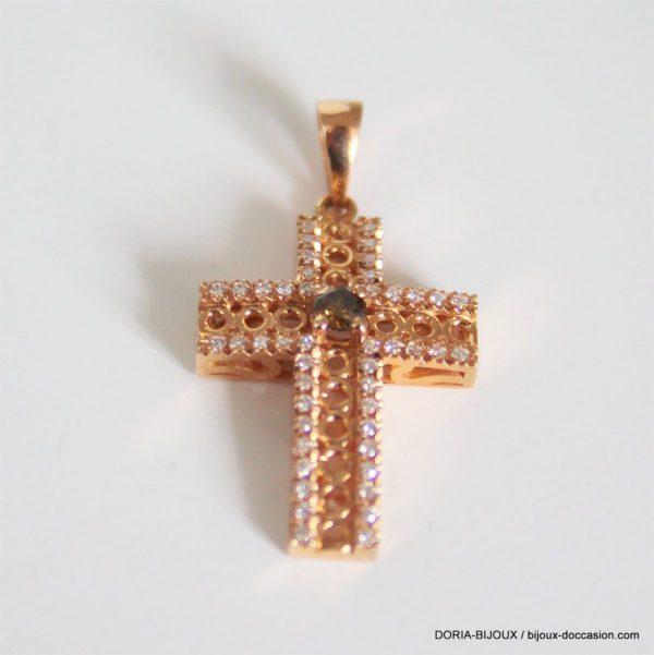 Pendentif Croix Or Rose 18k, 750 Diamants - 2grs