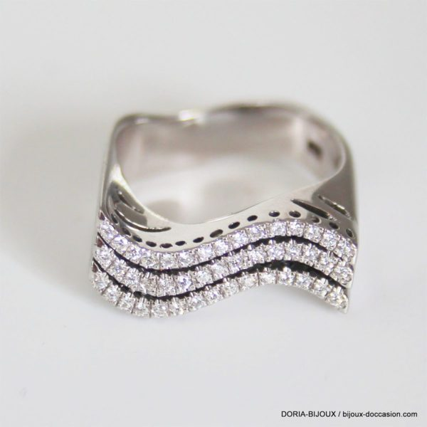 Bague Or Gris 18k 750 Pavage Diamants - 10.5grs