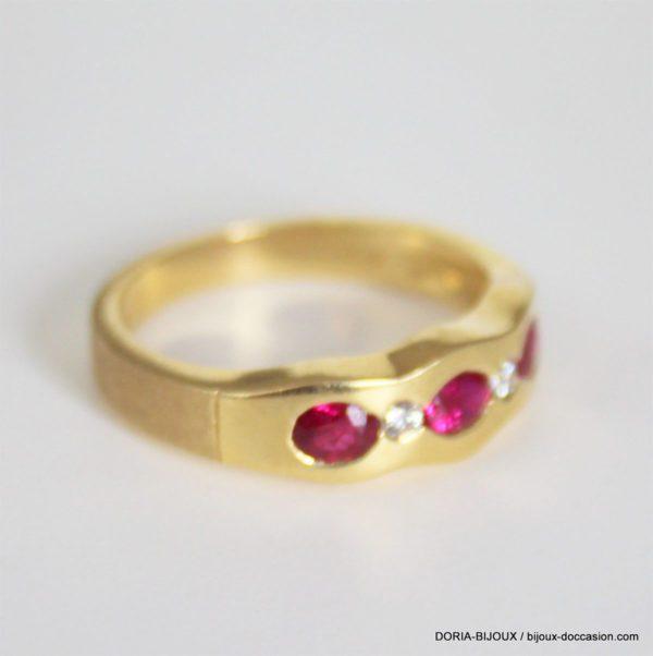 Bague Or Jaune 18k, 750 Rubis & Diamant - 4.8grs-56