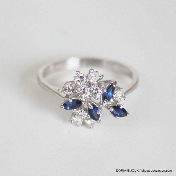 Bague Or 18k, 750 Saphirs & Diamants 3grs -56