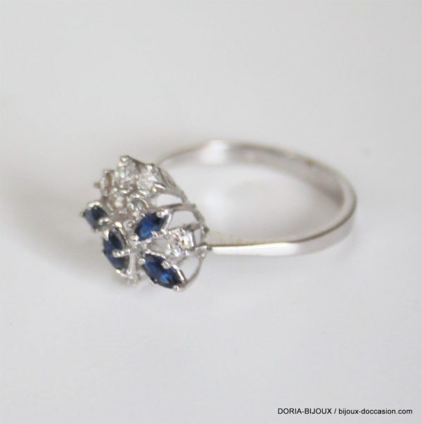 Bague Or 18k, 750 Saphirs & Diamants 3grs -56