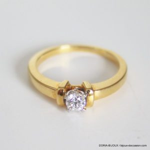 Bague Or Bicolore Solitaire Diamant -4grs - 52