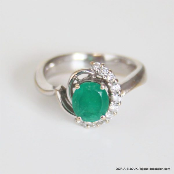 Bague Or Jaune 18k, Emeraude Et Diamants -6.1grs-53