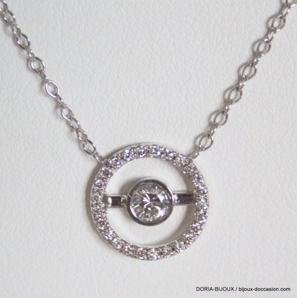 Collier Or Gris 18k, 750 Diamants 0.22cts - 2.7grs