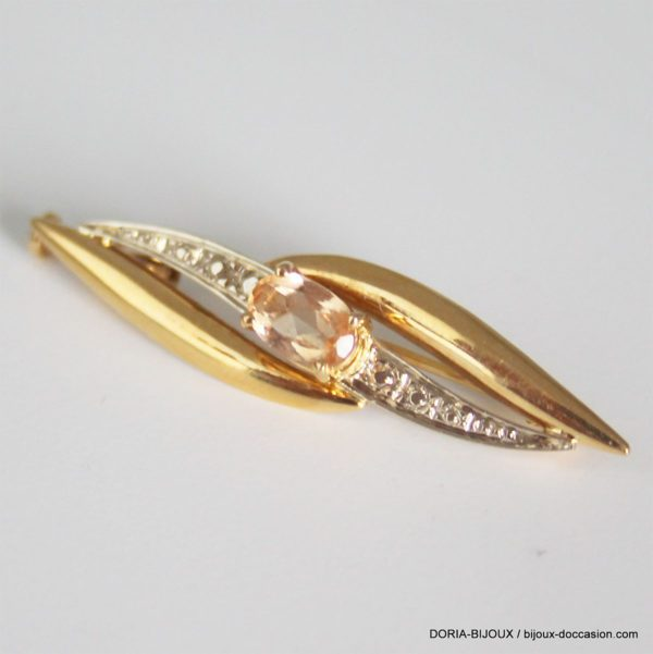 Broche Or 18k 750/000 Citrine  - 3.7grs
