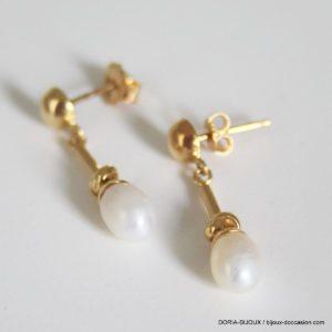 Boucles D'oreilles Pendantes Or 18k Perles -1.4grs
