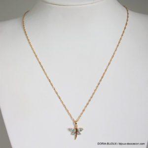 Collier Or 18k 750 Pendentif Papillon Topaze -2.6grs