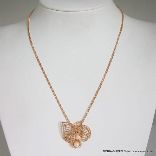 Collier Perle & Diamant Or 18k 750 - 46cm- 9.5grs