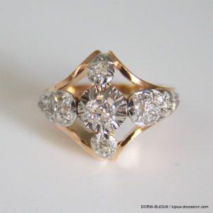Bague Vintage Or 18k 750 Diamants- 8.7grs- 52