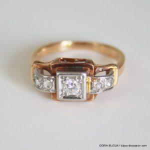 Bague Vintage Or 18k 750 Diamants- 3.9grs- 52