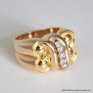 Bague Vintage Or 18k 750 Diamants- 14.8grs- 56