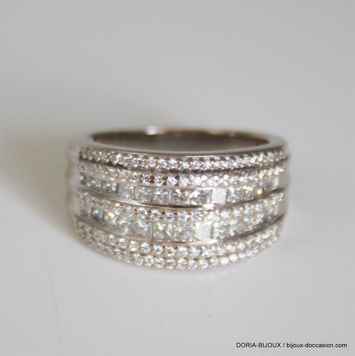 Bague Or Gris 18k 750 Pavage Diamants- 7.6grs- 52