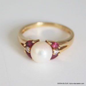 Bague Or Jaune  Perles Rubis Et Diamants -53- 3.7grs