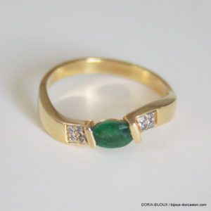 Bague Or 18k Emeraude & Diamant  3.1grs- 54