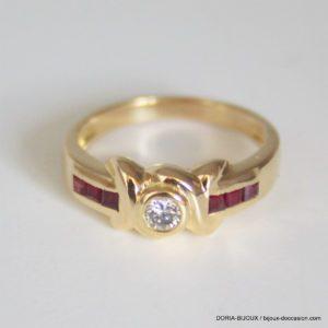 Bague Or Rubis Diamant 0.05 Carats 4.3grs - 54-