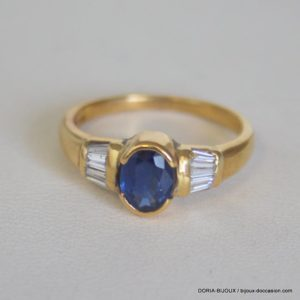 Bague Or 18k 750/000 Saphir Diamant 3.70 Grs