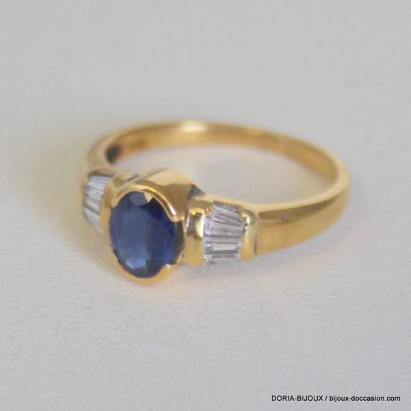 Bague Or 18k 750/000 Saphir Diamant 3.70 Grs
