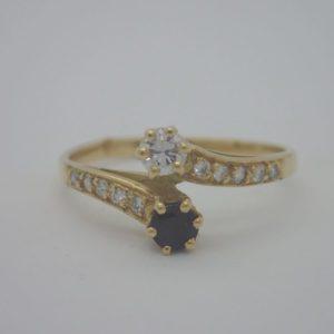 Bague Toi Et Moi Saphir Diamant