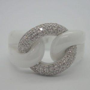 Bague d' occasion JEELL céramique blanche et or blanc 18k 750/000