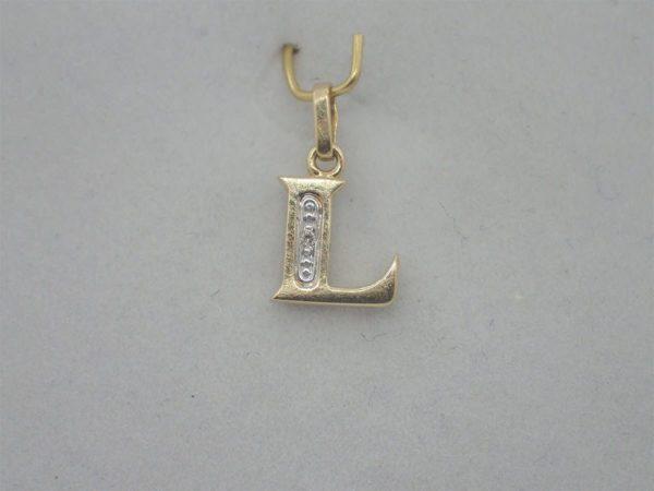 "Pendentif d' occasion initiale "" L "" en or jaune 18k 750/000"