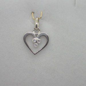 Pendentif Or Gris Coeur Diamants