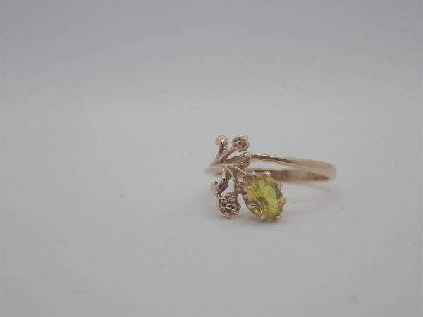 Bague 9k Or Rose Pierre Jaune
