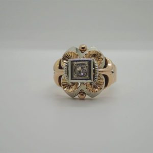 Bague d' occasion vintage en or bicolore 18k