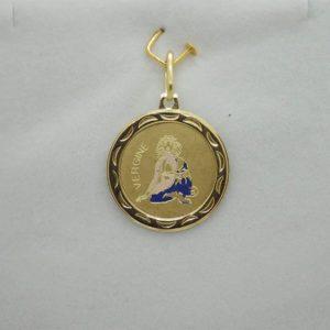 Pendentif medaille Zodiaque vierge d' occasion en or jaune 18k